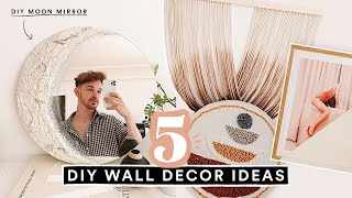 5 DIY WALL ART DECOR IDEAS - Aesthetic + Affordable ☆ DIY MOON MIRROR!