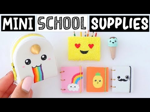 4 DIY REAL MINIATURE SCHOOL SUPPLIES! Slime Notebook, Unicorn Backpack & MORE!