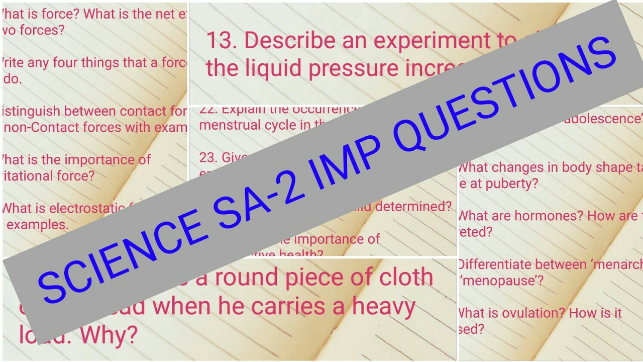 8th Class Science SA 2 important questions Paper 2018