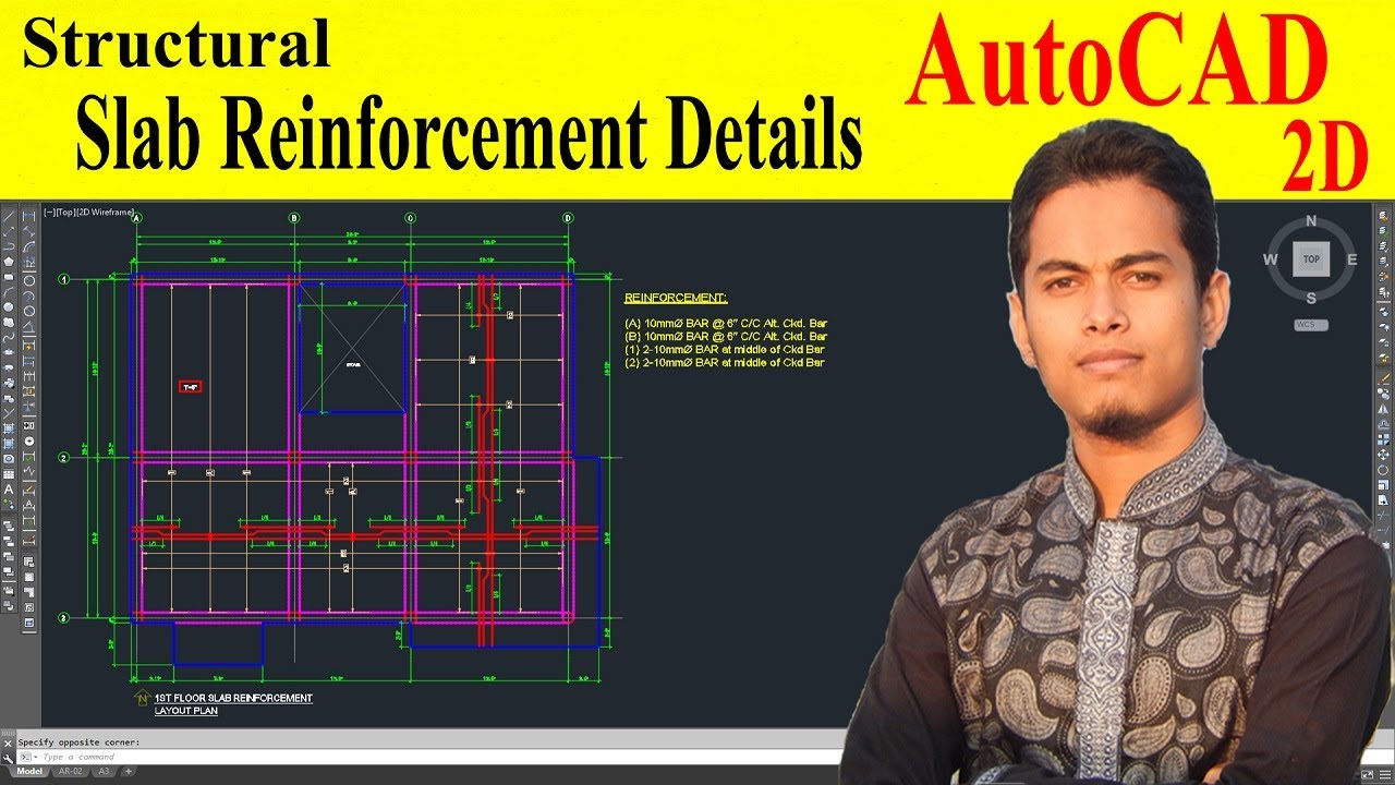 How To Draw Slab Reinforcement Details In Autocad Youtube