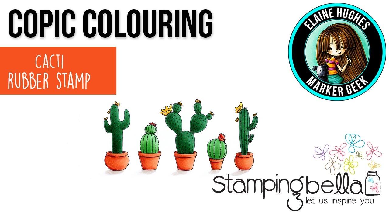 Copic Coloring Stamping Bella 2017 Cacti Rubber Stamp Set