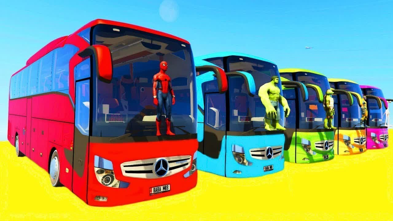 Cartoon with Colorful Cars & Bus for Children - Educational English Video