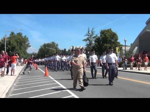 Virginia Tech Corp of Cadets March in for Football Game