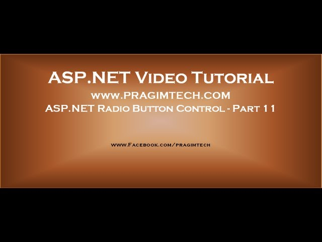 ASP.NET Radio Button control   Part 11