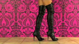 These ultra-sexy black thigh-high boots from Guess will steal your ...