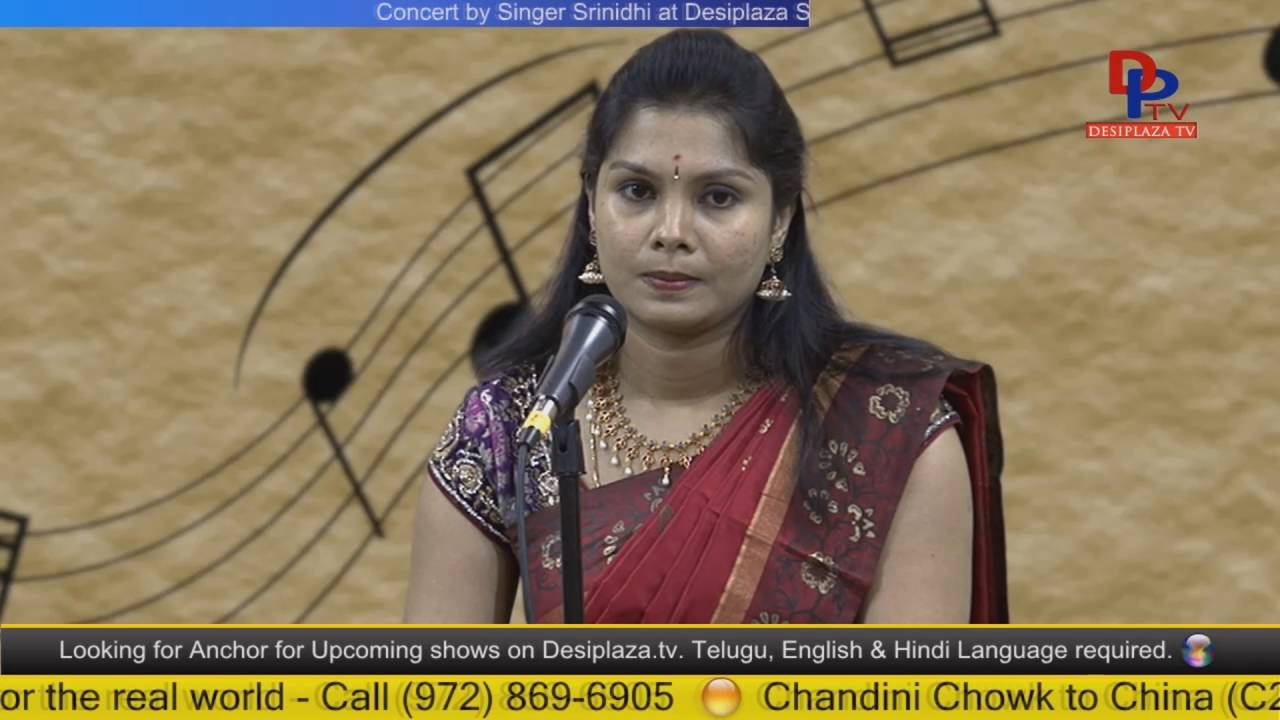Part.2 Srinidhi  giving Carnatic music concert at Desiplaza Studio,Irving,Texas
