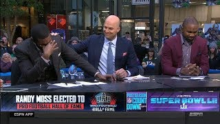 Randy Moss gets Emotional on set After being Elected to Pro Football Hall of Fame