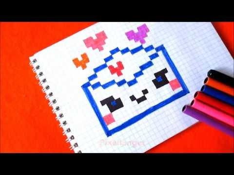 Конверт с Сердечками Как рисовать по клеточкам в тетради  How To Draw Envelope With Hearts Pixel Art