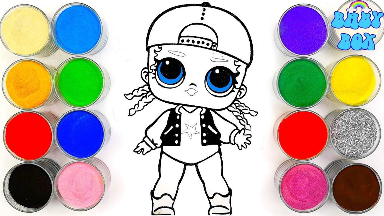 Куколка ЛОЛ, рисование песком, раскраска для детей ...