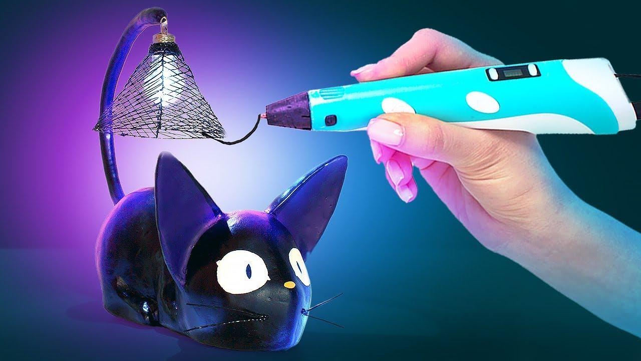 Haz una lámpara de noche LED en forma de gato con el lápiz 3D