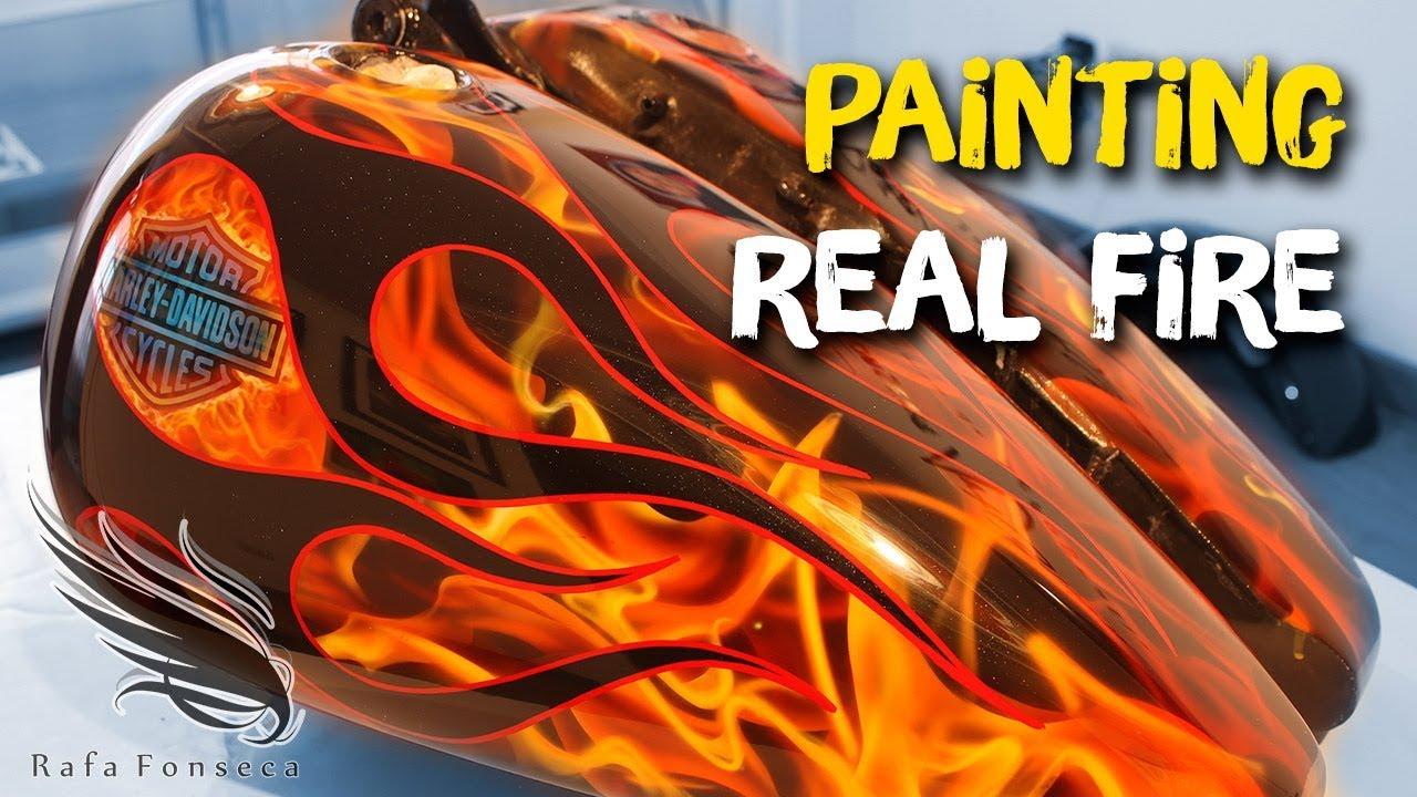 Custom Paint Real Fire And Flames Old School Airbrush Real Fire Harley Davidson Rafa Fonseca