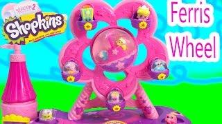 Glitzi Globes Ferris Wheel Amusement Park Water Glitter Playset Shopkins Season 1 + 2 Squinkies Ride