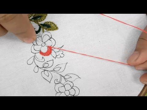 border design for dresses/hand embroidery borderline design tutorial thumbnail