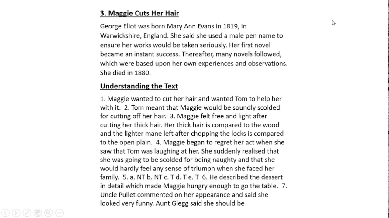 "Answer Key GUL MOHAR READER 11 Lesson 11 ""MAGGIE CUTS HER HAIR"""
