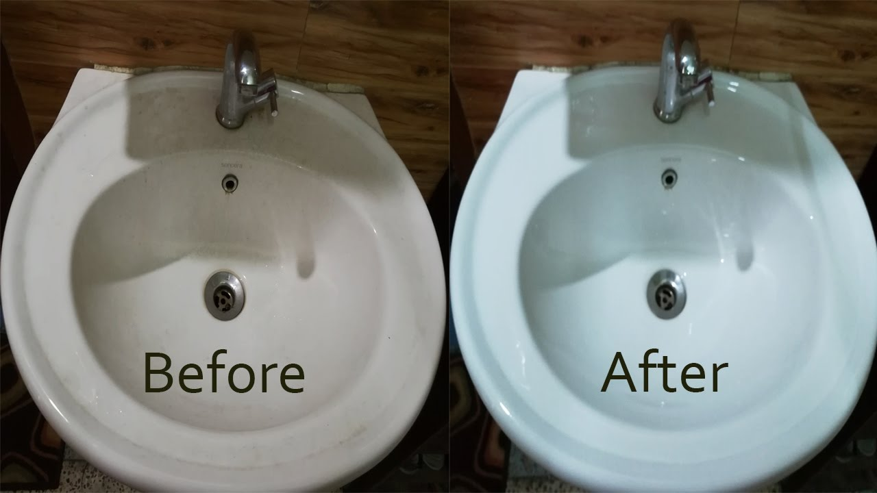How To Clean Wash Basin Remove Hard Water Stains Naturally YouTube - Remove stains from bathroom sink