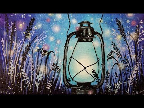 Easy Acrylic Painting Fireflies Lantern LIVE
