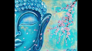 Surreal Blue Buddha with Cherry Blossoms Acrylic painting