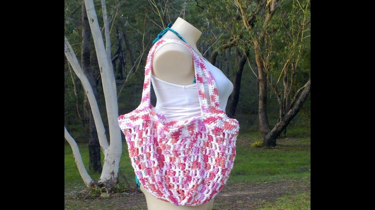 Mesh Market Bag 2 Handles Crochet Tutorial - YouTube