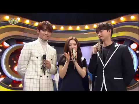SEVENTEEN's interview with Mingyu, Chaeyeon, & Song Kang at Inkigayo 180218