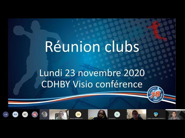 CDHBY - Visio Conférence de la Réunion des Clubs du Département - 23 Novembre 2020
