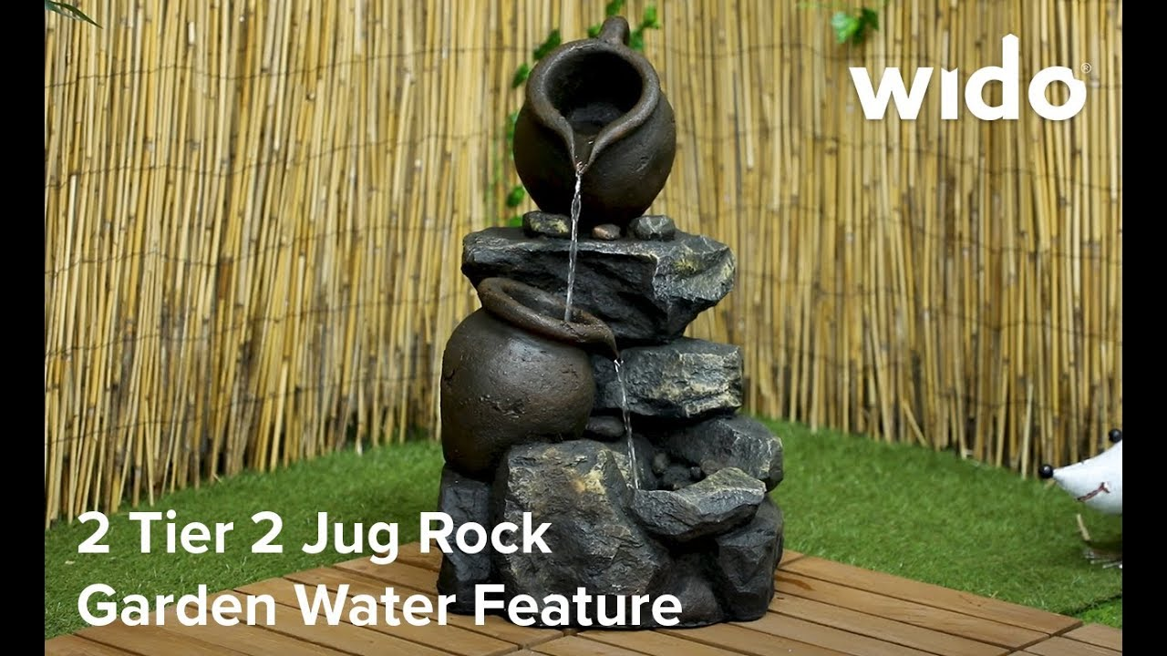 Outdoor water feature,2jug fountain with lights,outdoor fountain wood effect.