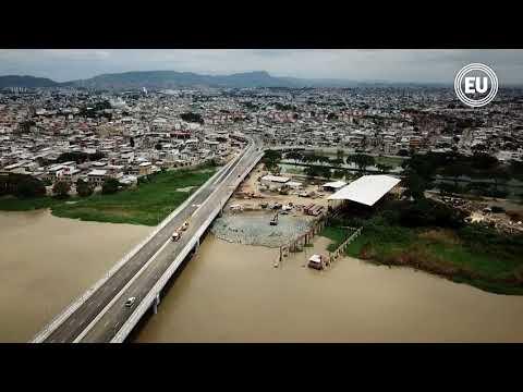 Vista en dron del nuevo puente Guayaquil-Samborondón