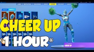 *NEW CHEER UP* FORTNITE EMOTE 1 HOUR (WITH LEAKED SKINS)