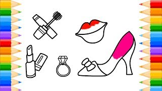 How to Draw Fashion Accessories for Girls Coloring Women Shoes Lips and Ring