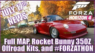 Forza Horizon 4 July 17th News: Full Map, Offroad Kits, #Forzathon, RB 350Z & More