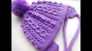 Двойная шапочка со жгутами. Вязание на спицах.