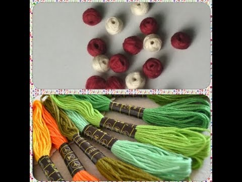 How to make cotton thread beads for necklace |  diy beads making at home for necklace | Craft world