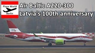 Air Baltic Airbus A220-300 *Latvia's 100th anniversary* in Berlin TXL
