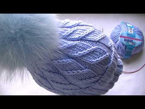 Вяжем  шапку узором  резинка косички