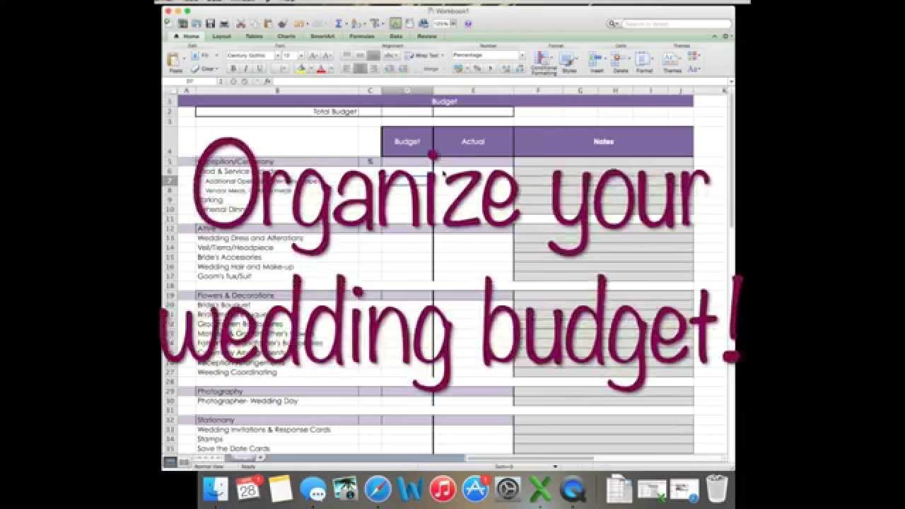 how to wedding budget on excel wedding planning youtube