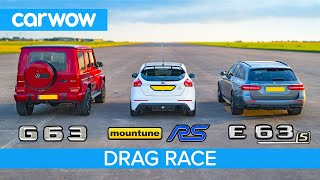 Mercedes-AMG E63 S vs G63 vs 520hp Ford Focus RS - DRAG RACE, ROLLING RACE & BRAKE TEST!