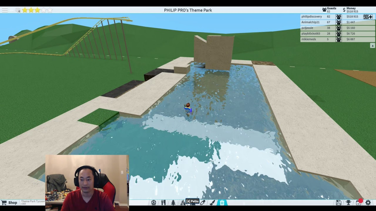 How To Build The Log Flume Water Ride In Theme Park Tycoon 2 Ben