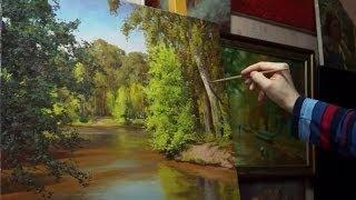 """Лесное озеро"". Олег Буйко.  Живопись маслом. oil painting. 油畫  油絵"