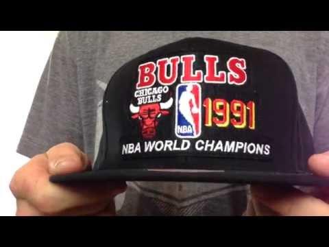 b747d518fc51ec Bulls '1991 CHAMPS SNAPBACK' Black Hat by Mitchell & Ness - YouTube
