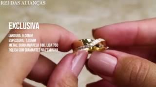 Par de Alianças em Ouro Modelo Exclusivo com Diamantes - Rei das Alianças d7d3cdab5f