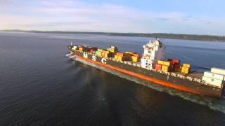 DJI Phantom 3 Drone Ship Chase - Seattle MSC Lisa Container Ship