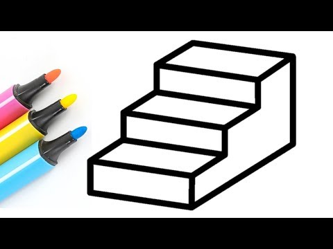 Very Easy 3D Stairs Drawing And Coloring | 3D Illusion Drawing | Draw And Color Pages For Kids