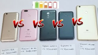 MiA1 VS Redmi Note 4 VS Redmi 4 VS Redmi 5A VS Mi Max 2 - Battery Discharging Test