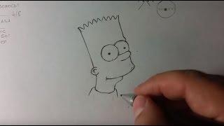 Рисунки карандашом. Как нарисовать Барта Симпсона поэтапно. Sketching Bart Simpson step by step.