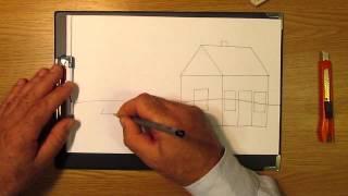 Как рисовать домик. Часть 1. Урок 7. How to draw a house. Part 1. Lesson 7(На этом уроке мы научимся рисовать домик карандашом с помощью прямых линий. How to draw a house., 2013-07-08T18:22:30.000Z)