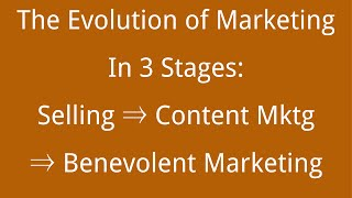 Evolution of Marketing from Selling/Enrollment to Content Marketing to Benevolence