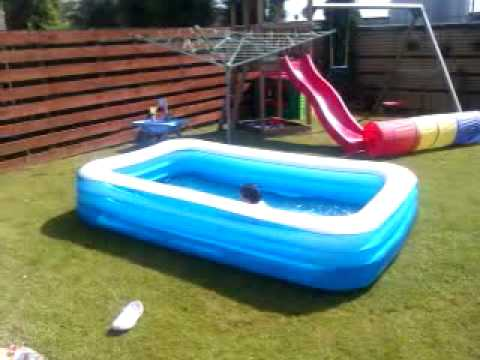Theo and logan in swimming pool back garden youtube for Back garden swimming pool