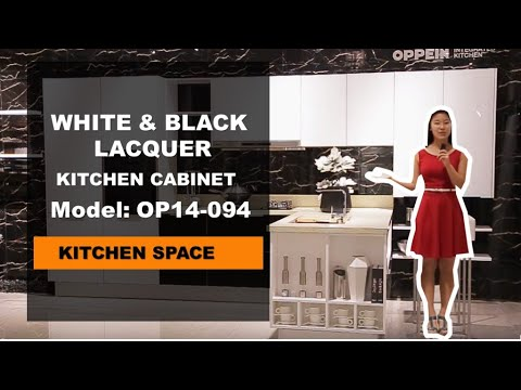 White and Black Lacquer Kitchen Cabinets from OPPEIN
