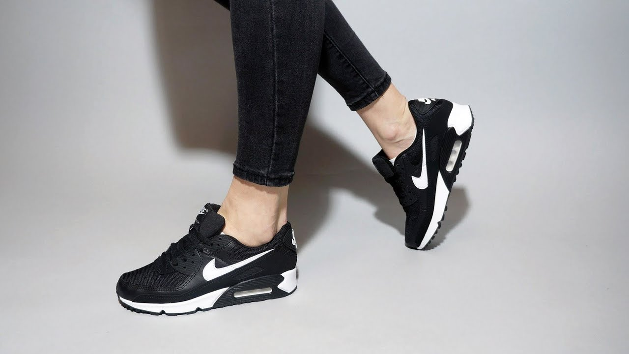 Nike Air Max 90 Black White Black CQ2560-001 on feet