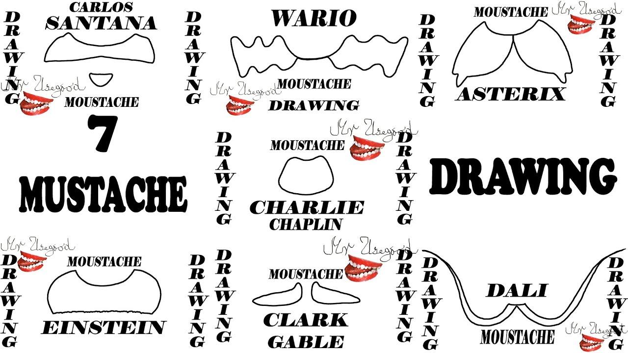 How to Draw Mustache Easy - 7 Cute Cartoon Mustache for kids: Asterix,  Wario | #MrUsegoodART