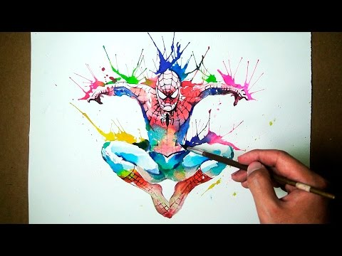Marvel Spider-Man - Watercolor Blowing Technique - JayArt